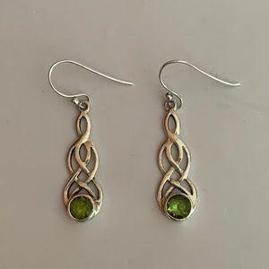 Vintage Sterling Green Peridot Dangle Earrings